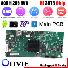 8CH CCTV H.265 NVR Board 4K/5MP/4MP HI3798M Security NVR Module 4CH 5MP / 8CH 4MP XMEYE P2P Mobile Monitoring Cloud Viewing(China)