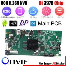 Placa de segurança nvr, 8ch cctv h.265 4k/5mp/4mp hi3798m 4ch 5mp/8ch 4mp xmeye p2p monitoramento móvel da nuvem