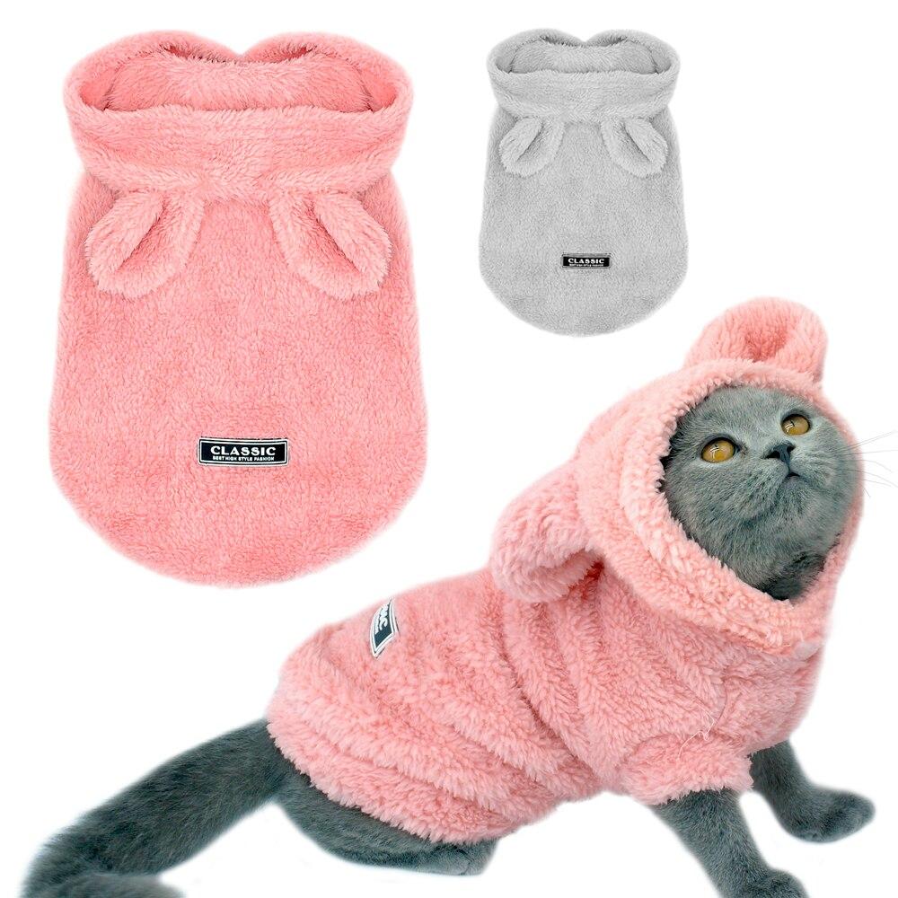 Ropa de abrigo para gatos de invierno para mascotas cachorro chaqueta de gatito para perros pequeños medianos gatos Chihuahua ropa de Yorkshire disfraz Rosa S-2XL