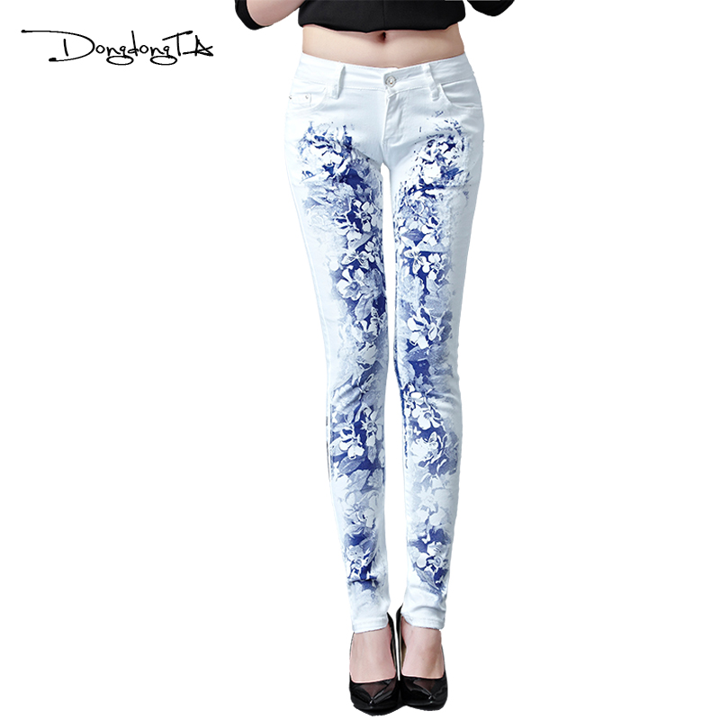 Dongdongta New Jeans Women Girls 2017 Ny originaldesign Mid midja Vit - Damkläder - Foto 1