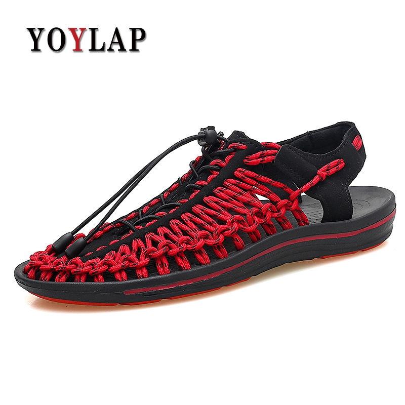 2018 New Fashion Luxury Men Sandals Handmade Men Shoes Summer Soft Leather Shoes Top Quality Flats Beach Sandals