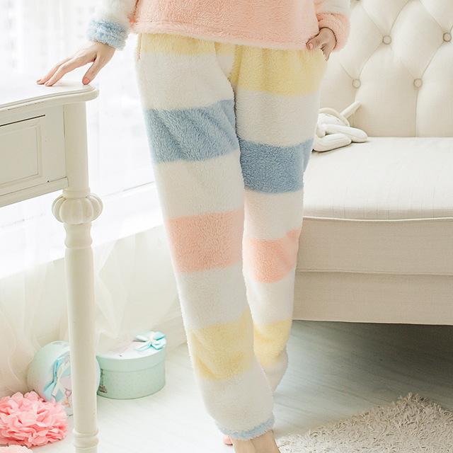 Pantalones de pijamas de invierno grande de algodón dulce de pana sueltos pantalones de pijama Equipamiento Del Hogar de la princesa señora pantalones de terciopelo de coral