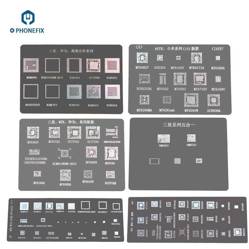 PHONEFIX BGA Reballing Stencil Solder Template For Samsung Galaxy Huawei Xiaomi MTK SPRO Oppo Series PCB BGA Chip Repair