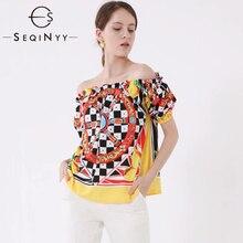 SEQINYY T shirt 2019 Summer New Fashion Design Short Sleeve Plaid Flowers Printed Vintage Top