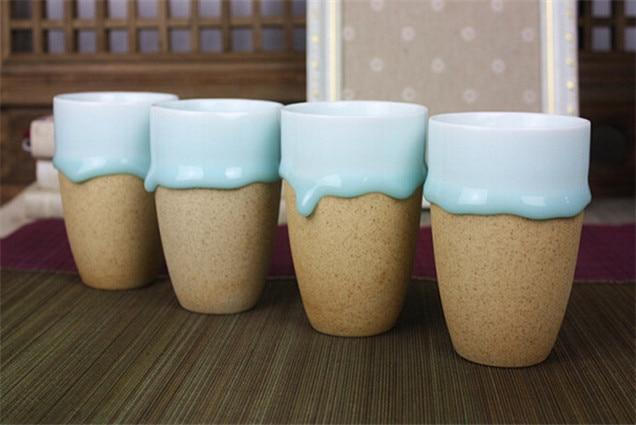 Beautiful Drip Pottery Flow Blue Glaze Pottery Mugs