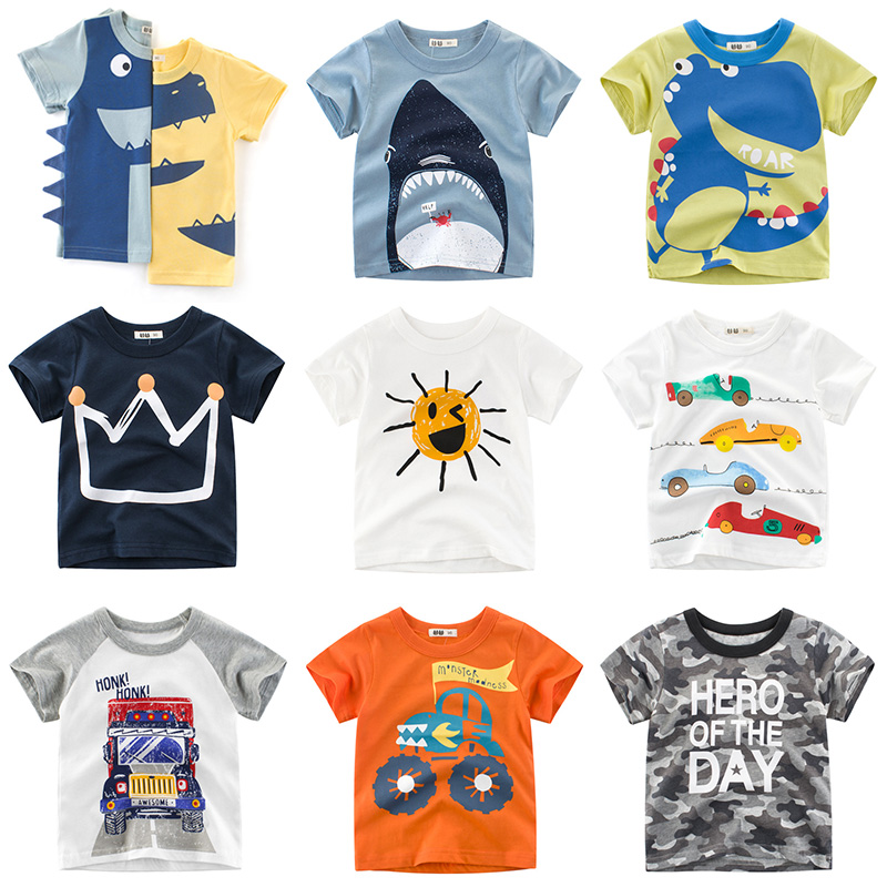 Cartoon Print T-shirt For Boys Transportation Girls T Shirt Summer Infant Kids Tshirt Girls T-Shirts Tops Tee Boy Clothes DX-BS2