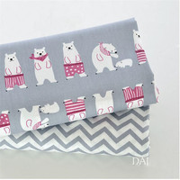 Printed grey polar bear Bed sheet pillowcase cotton twill cloth