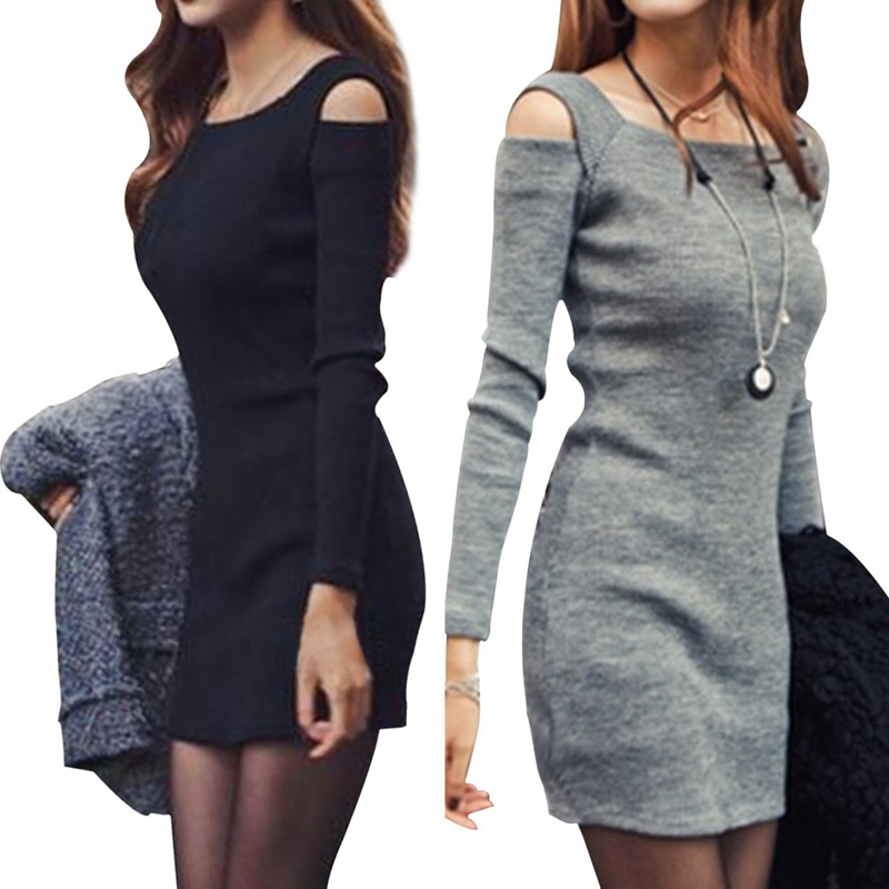2019 Hot Sale Sexy Women Long Sleeve Bodycon Sweater Knitted Dress Female Pullover Autumn Winter Dresses Vestidos