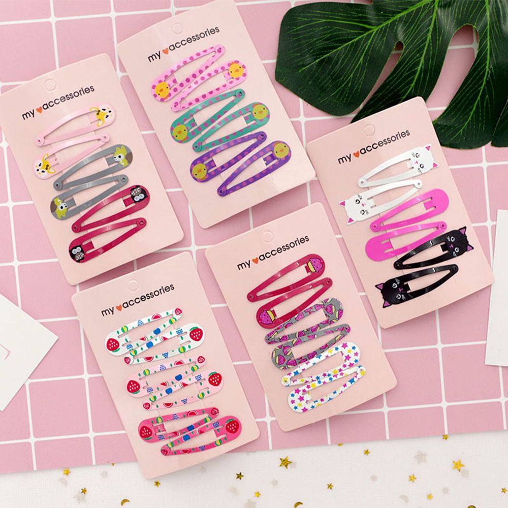 6Pcs/Set 6cm Hairpins Snap Hair Clips For Children Girls Hair Accessories Baby Cute Hair Clip Pins Cat Metal Printed Barrette