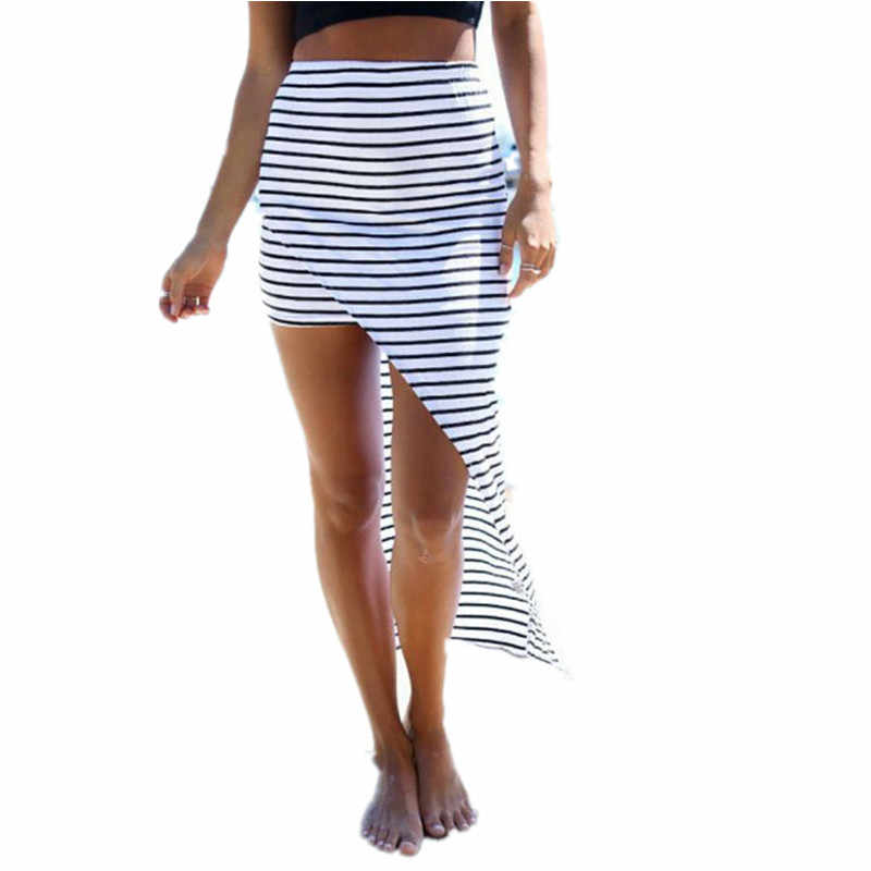 fe8a1f136d European Style 2015 New Summer Women Beach Skirt Side Split Black White  Stripes Asymmetrical Sexy Long
