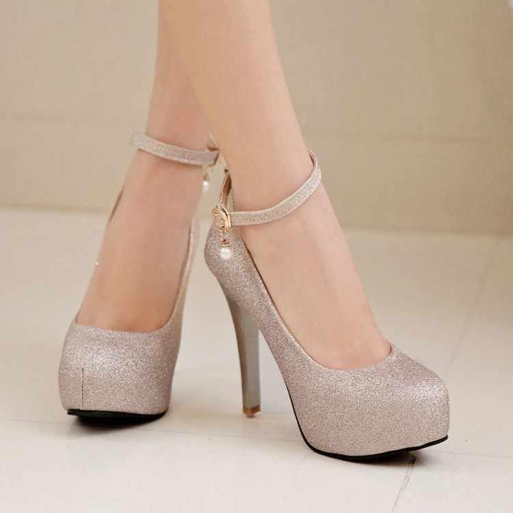 ขนาดใหญ่ขนาด 11 12 13 14 รองเท้าส้นสูงผู้หญิงรองเท้าผู้หญิงสุภาพสตรีกันน้ำรอบหัวตื้นหัวเข็มขัดเดี่ยวรองเท้า