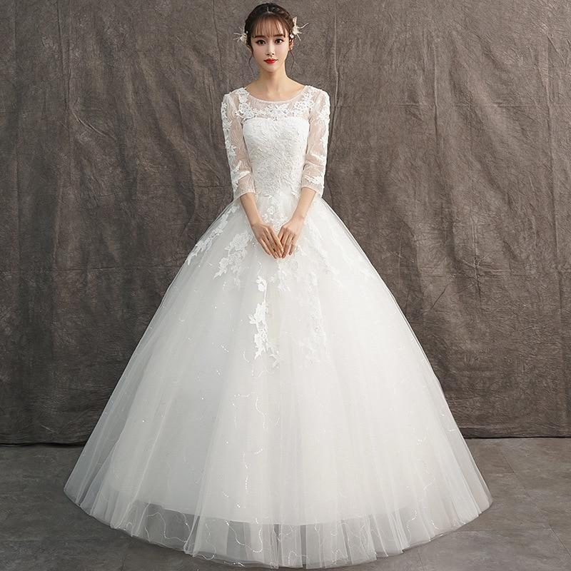 High Waist Pregnant Women Wedding Dress Long Sleep Lace Bridal Gowns Custom Dress Vestidos De Novia Nemidor Robe De Soiree