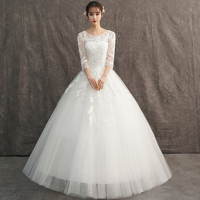 High Waist Women Wedding Dress Long Sleep Lace Bridal Gowns Custom Dress Vestidos De Novia Nemidor Robe De Soiree