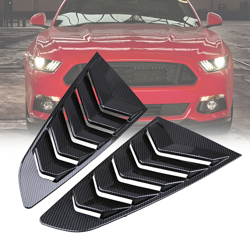 POSSBAY Left Right Side Window Louver for <font><b>Ford</b></font> <font><b>Mustang</b></font> Fastback <font><b>2015</b></font>-present Rear Quarter Window Panel Decoration Bonnet Vents image