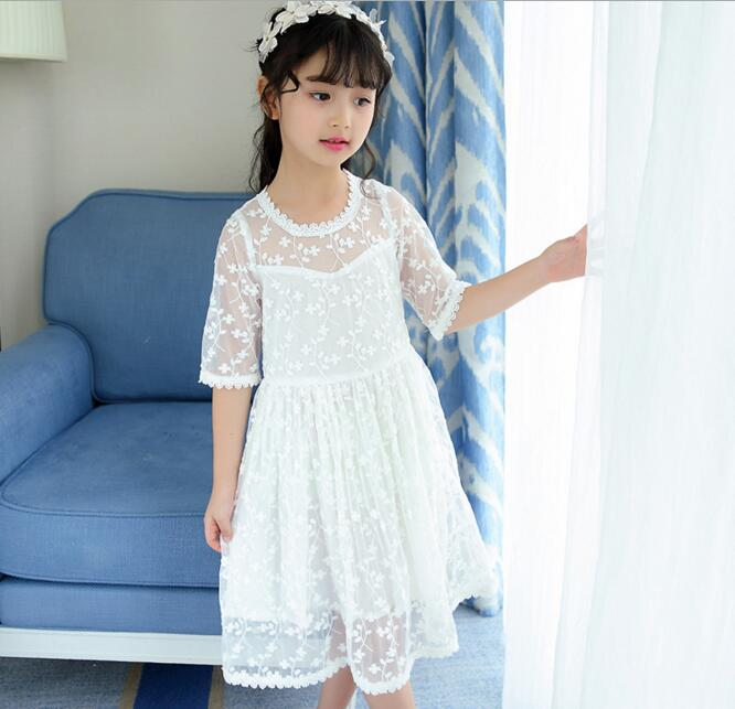 Girls White Color Lace Embroidery Mesh Net Yarn Princess Party Dress ...