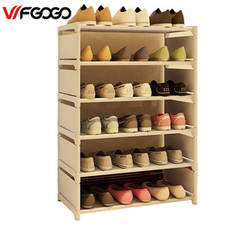 WFGOGO Simple Shoe Cabinets Ironwork Multi-layer Assembly of Shoe Rack with Modern Simple Dustproof Shoe Cabinet 85cm Hight reinforcing steel double simple shoe storage rack assembly cheap thicker dust specials