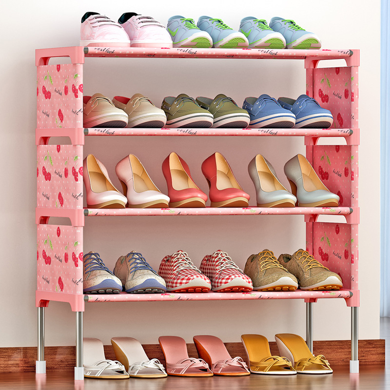 Simple 5 layers Stainless Steel Frame Shoe Rack Easy to Assemble Door Non-woven Shoe Shelf Standing Saving Space Shoe Organizer 4 layers of simple dust proof moisture proof shoe rack thick non woven stainless steel shoe free assembly of home furniture