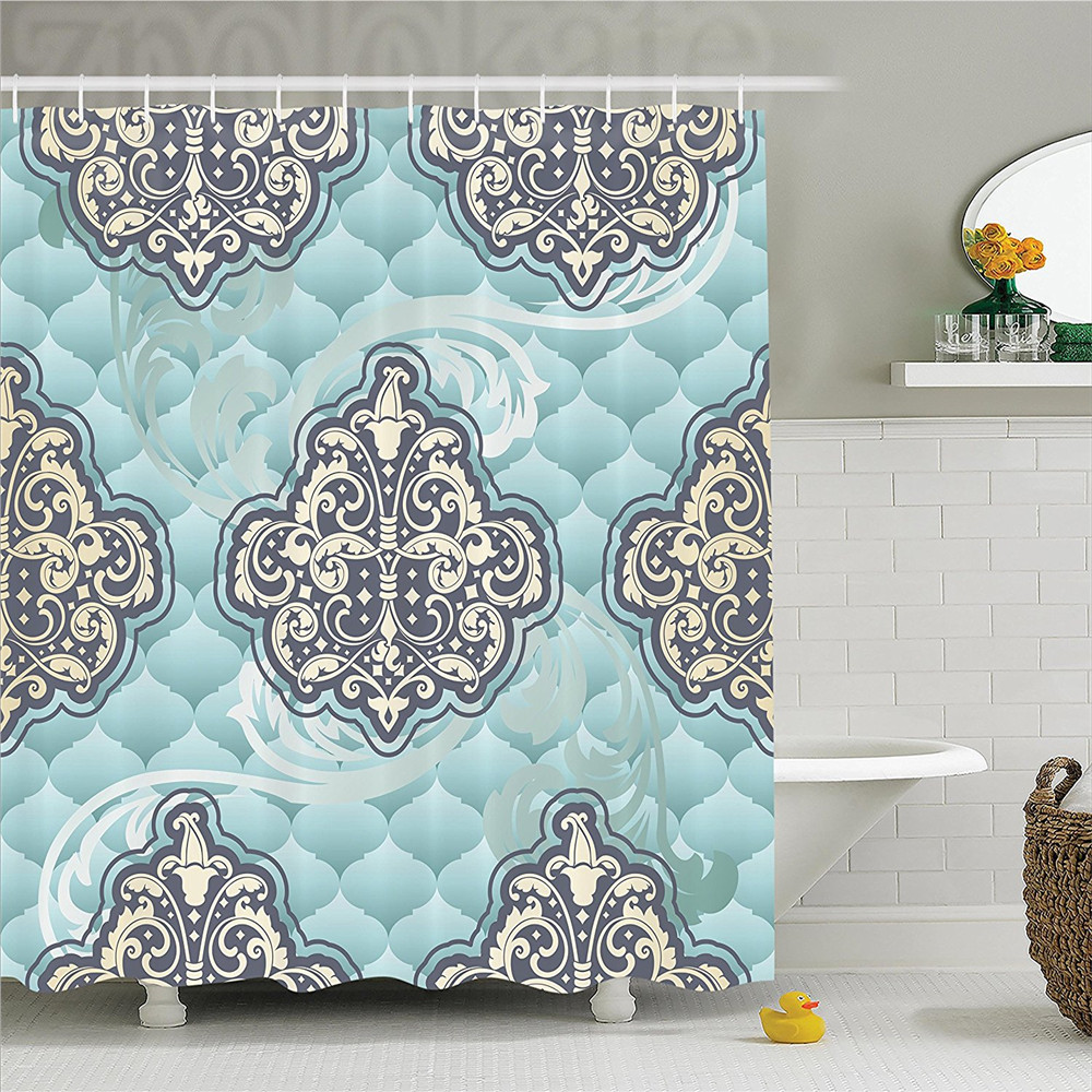 Victorian Decor Shower Curtain Set Rococo Style Era Designs Tiles Stylish Romantic Brocade Diamond Arabesque Swirls Bathroom Acc