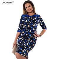 COCOEPPS 2017 New Floral Print Women Dress Big Size Elegant Half Sleeve Summer Dress Large Sizes
