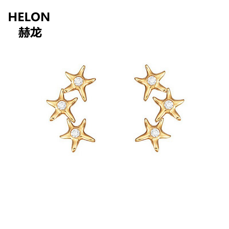 Solide 14 k or jaune SI/H taille complète diamants naturels bague de fiançailles anniversaire mariage bande Valentine bijoux cadeau