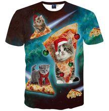 Round neck 3d clothing New Harajuku Mens 3d t-shirt short sleeve cartoon t shirt print pizza cat man Man tops tees Plus S-5XL R3