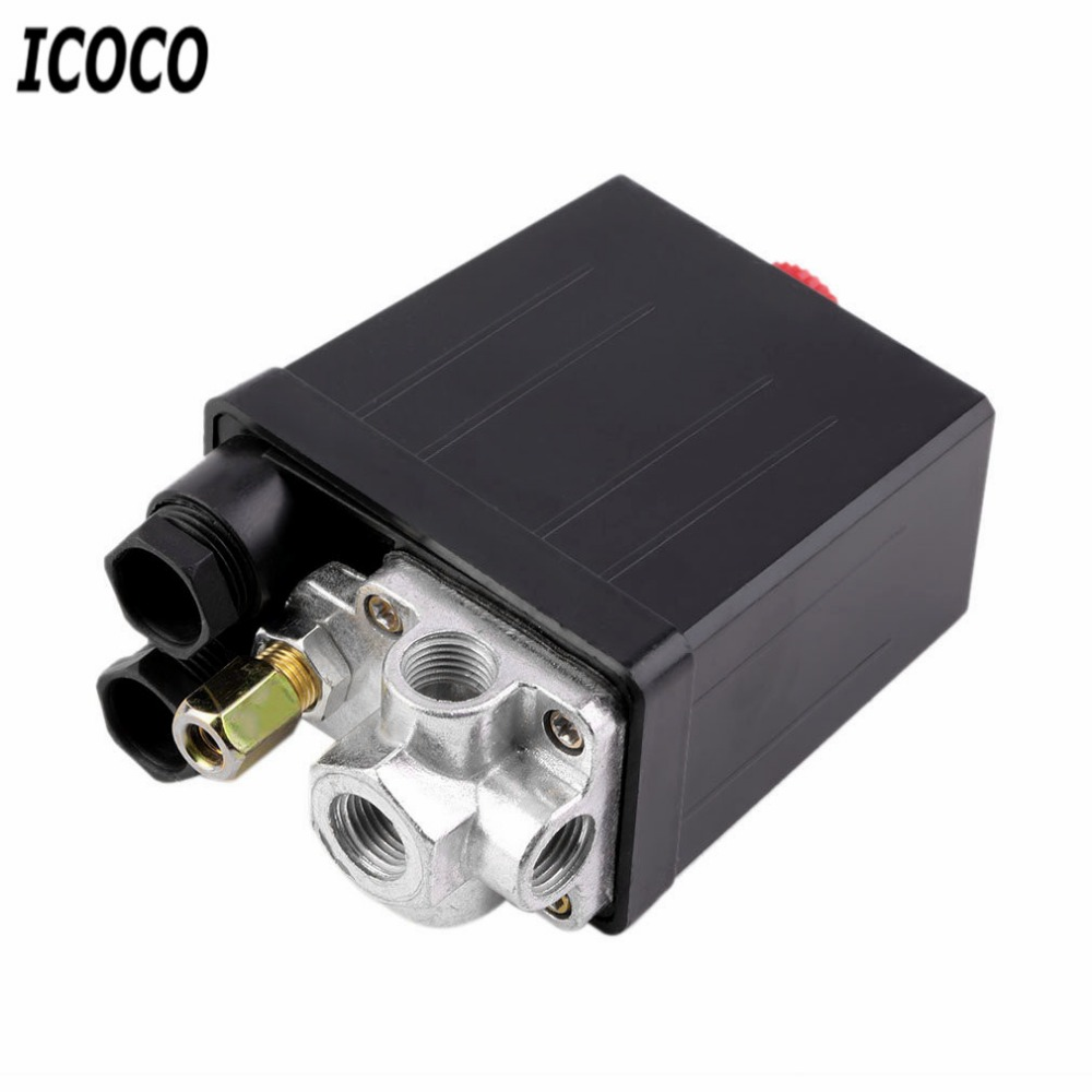 ICOCO High Quality Air Compressor Pressure Switch Control Valve 90 -120 PSI 240V 16A Auto Control Auto Load/Unload Switch vertical type replacement part 1 port spdt air compressor pump pressure on off knob switch control valve 80 115 psi ac220 240v