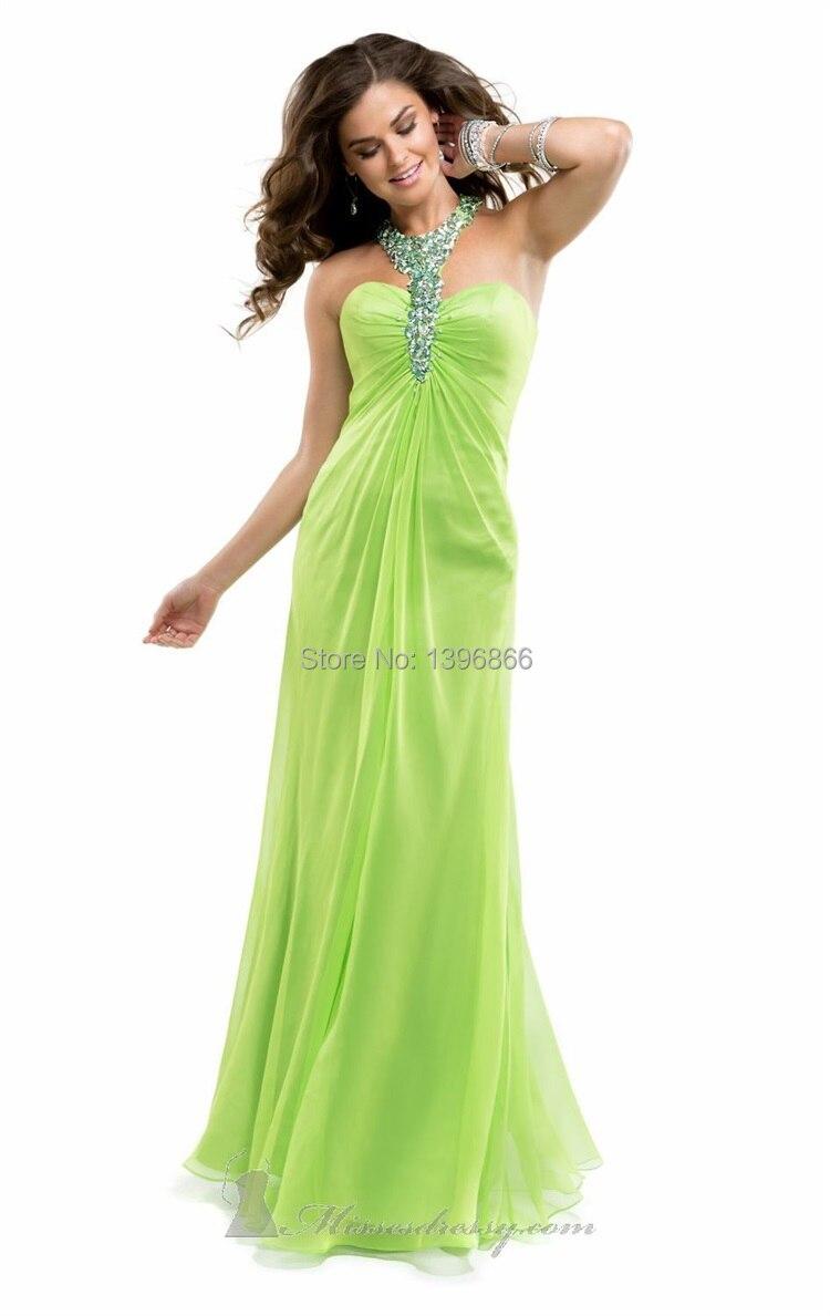 Latest Design Lime Green Prom Dress 2015 Halter Neck ...