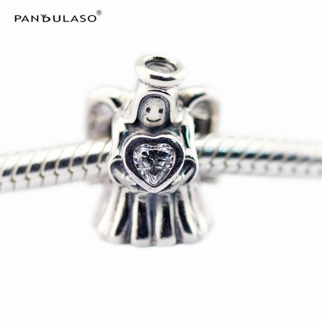 Natal encantos do anjo do amor do coração beads fit pandora pulseiras diy mulheres presentes bijuteria esterlina-prata-jóias fazendo