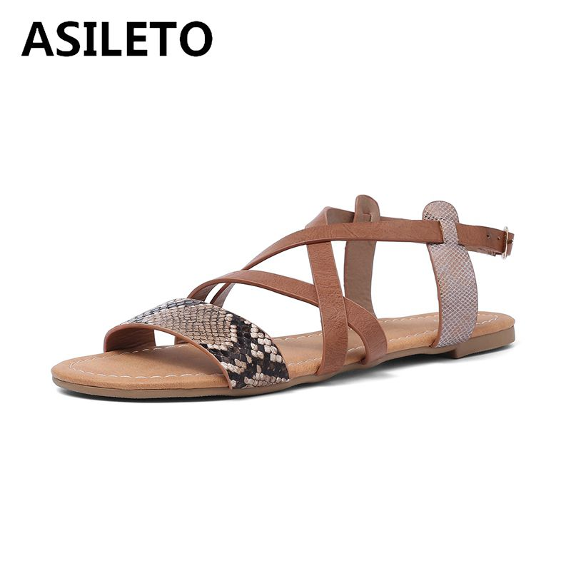 ASILETO size 45 46 snakeskin leather summer flat heels shoes women flat sandals strap buckle open toe sandales black sandaliaASILETO size 45 46 snakeskin leather summer flat heels shoes women flat sandals strap buckle open toe sandales black sandalia