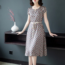 #0141 Summer Silk Dress For Women Short Sleeve O-neck Dresses Female Printed Slim Casual Dress In Women Tunic Clothing Plus Size fashionable round neck short sleeve plus size printed dress for women