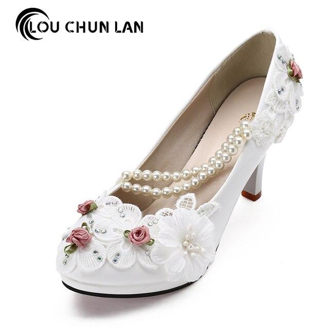 Large size 41-47 Elegant white Wedding Shoes Lace up Flower bridal Shoes  High Heels Women Pumps 8cm 4.5cm 3cm Free Shipping e98aff03d299