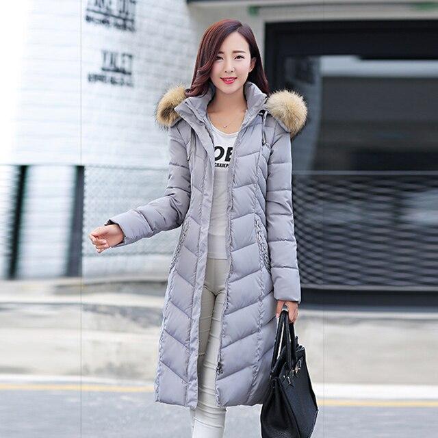 2017 moda inverno gola de pele ultra slim longo tamanhos grandes espessamento das mulheres para baixo casaco jaqueta de algodão quente para baixo parka neve desgaste