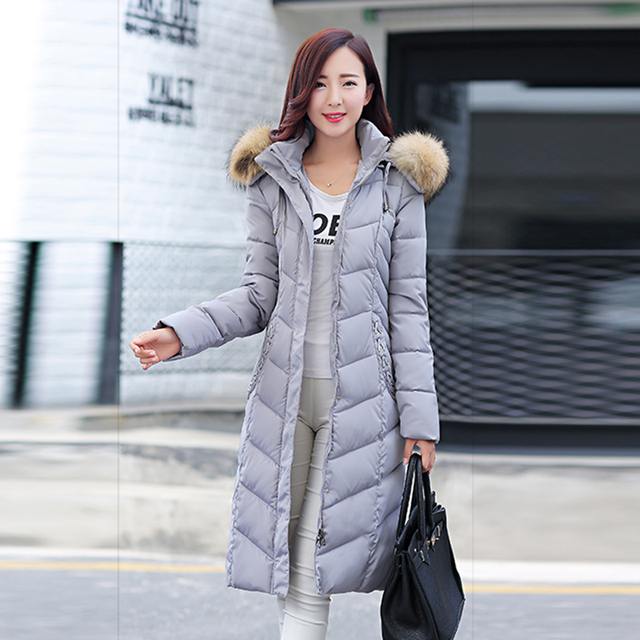 2017 winter fashion fur collar slim ultra long large sizes thickening women down jacket coat cotton warm down parka snow wear