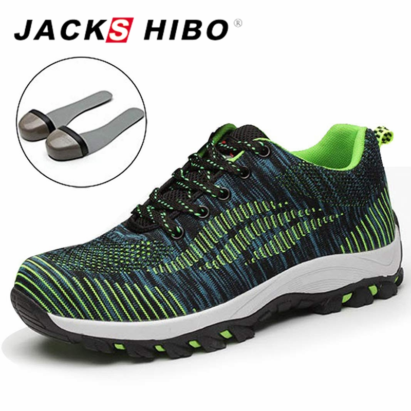 JACKSHIBO Safety Shoes for Men Steel Toe Work & Safety Boots Men Big Size Breathable Puncture Proof Boots chaussure de securite