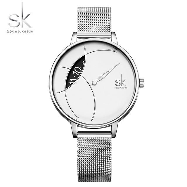 SK0091 Free Shipping Ladies Watches Fashion Quartz Stainless Steel Silver Creati