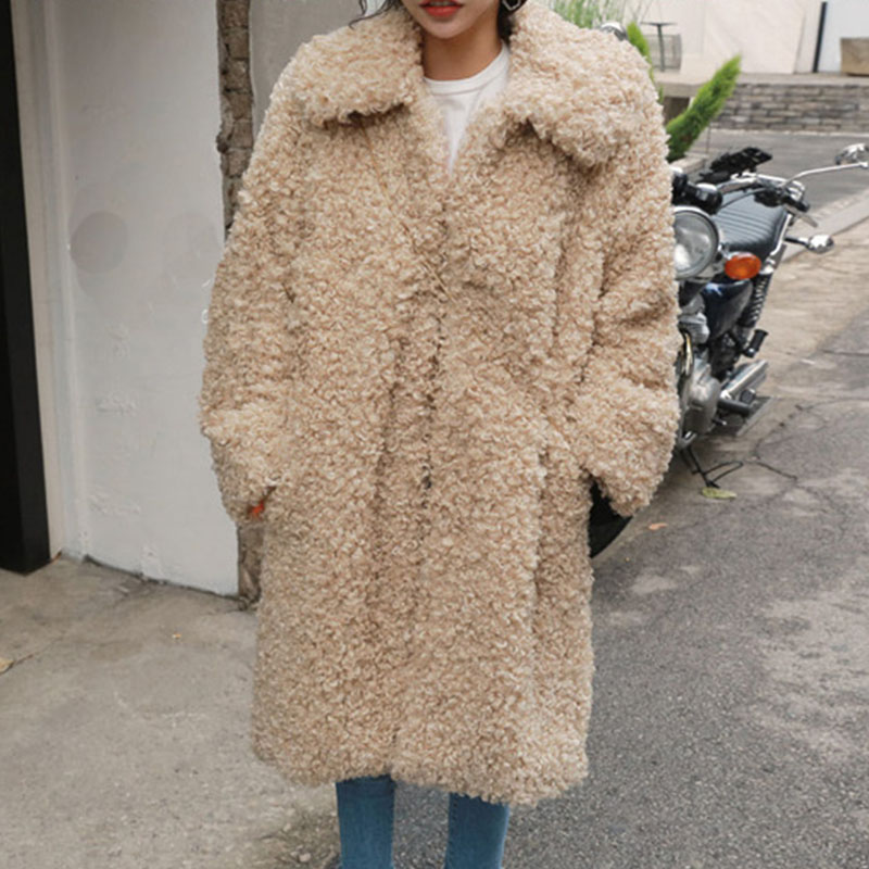 FIRSTTO Chic Circling Curly Hairy Shaggy Faux Lambs Fur Long Jacket Women Lapel Long Sleeved Coat Outwear Warm цена