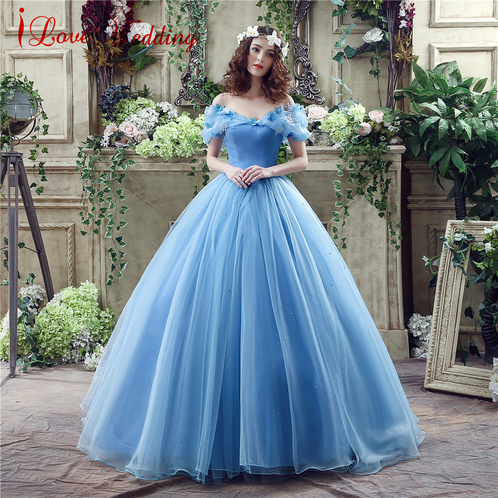2019 Blue Ball Gown Prom Dress ახალი ფილმი Princess Cinderella Cosplay Dress Off The Shoulder Organza Long Prom Gown