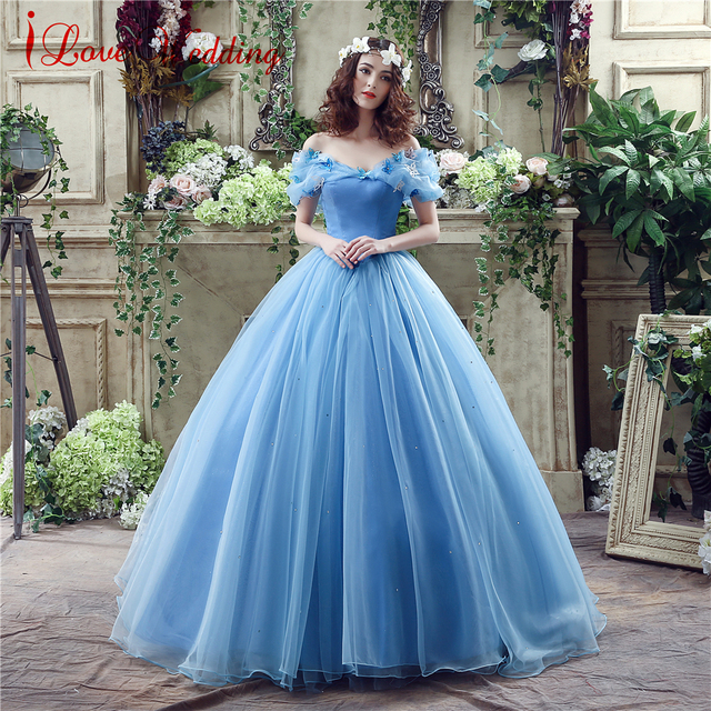 98c7b4ef814 2019 Blue Ball Gown Prom Dress New Movie Princess Cinderella Cosplay Dress  Off The Shoulder Organza Long Prom Gown