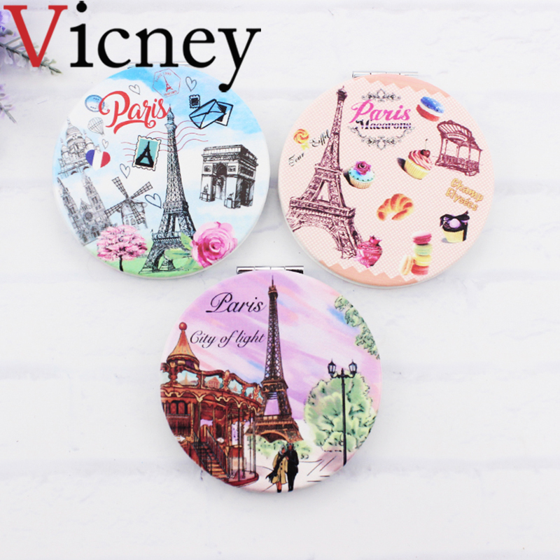 Vicney Double-sided Mirror Women Foldable Makeup Mirrors Lady Cosmetic Hand Folding Portable Compact Pocket
