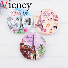 Vicney Double-sided Mirror Women Foldable Makeup Mirrors Lady Cosmetic Hand Folding Portable Compact Pocket Mirror недорого