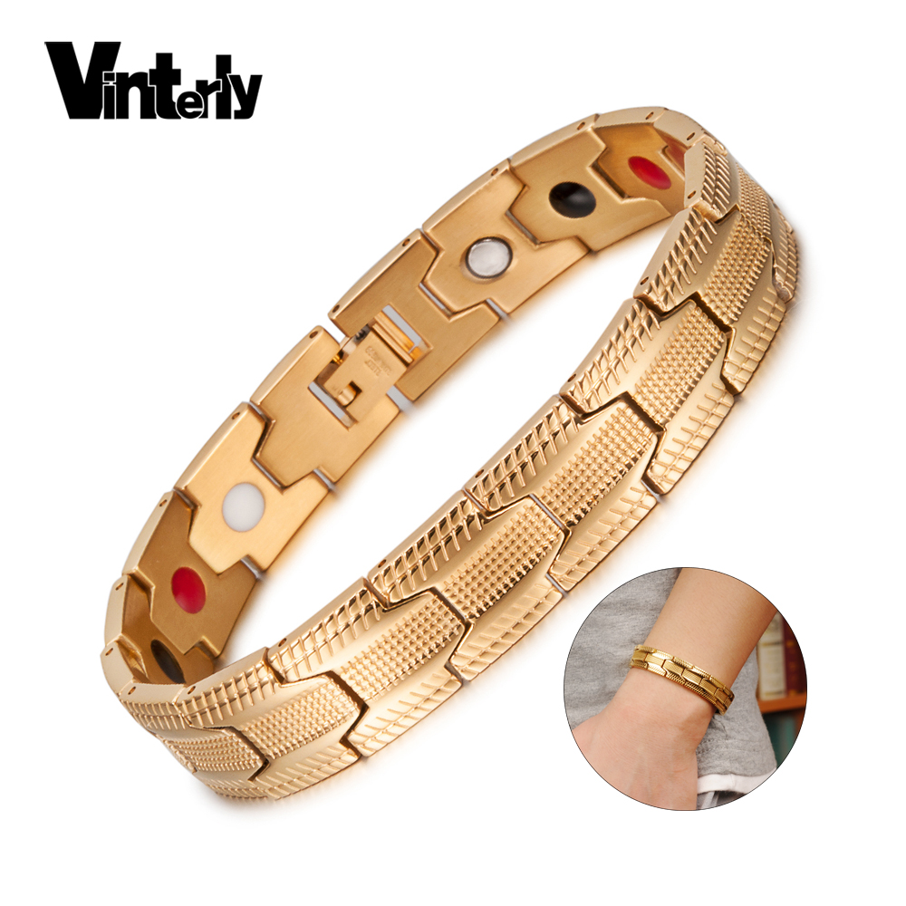 Vinterly Magnetic Bracelet Men Stainless Steel Jewelry Germanium Energy Charm Bracelet Femme Magnet Health Bracelets for Women
