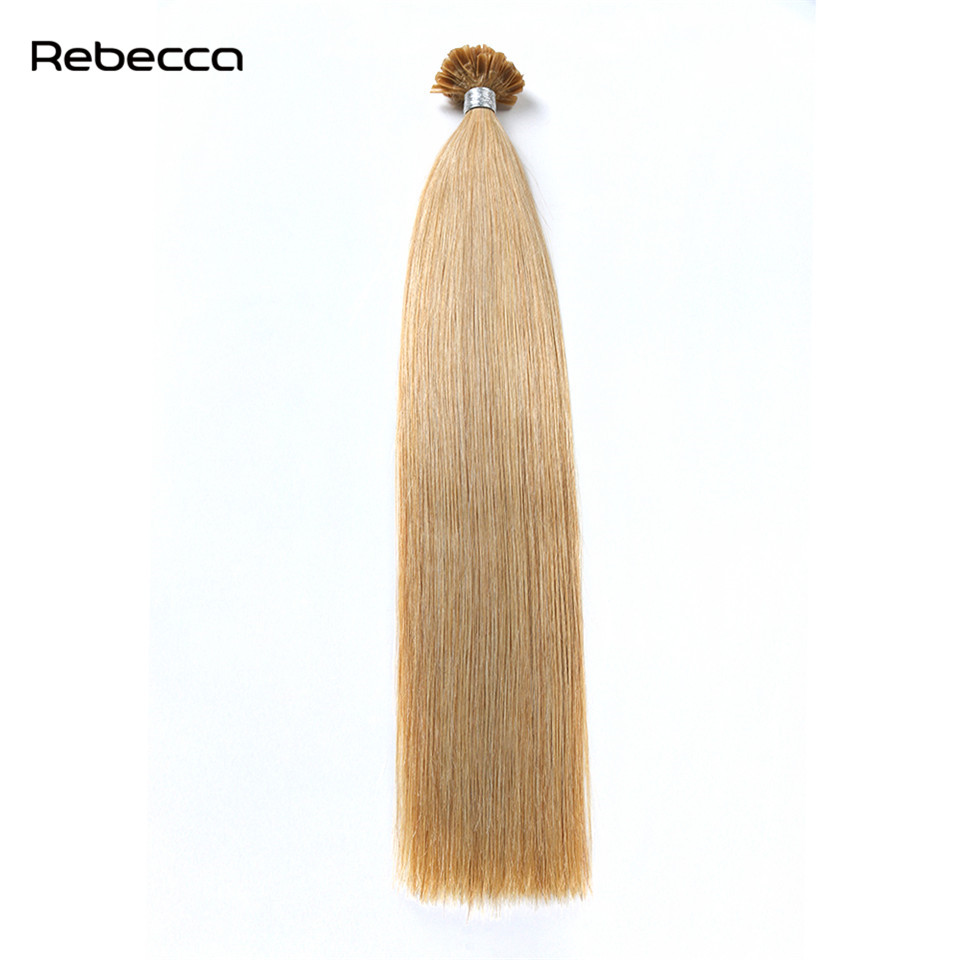 Rebecca Fashion Hair 16 24 Inch 16 Color Brazilian Straight Hair Extensions U Nail Tip Human