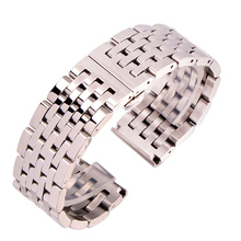 Watch Band Bracelet 20 22mm Solid Stainless Steel Men Women Straight End Strap Metal Silver Roes Gold Watchbands Accessories men women stainless steel bracelet watch band strap straight end solid links june17