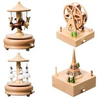 Wooden Music Box Creative Gifts For Kids Musical Carousel Ferris Wheel Boxes Wood Crafts Retro Home Decoration Accessories