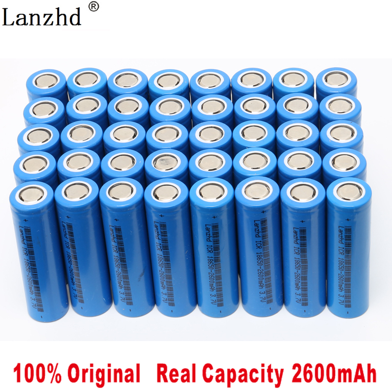 40PCS 2019 Battery for samsung 18650 Li ion 3.7V Rechargeable batteries 18650 2600maH ICR18650 26F Battery for flashlight