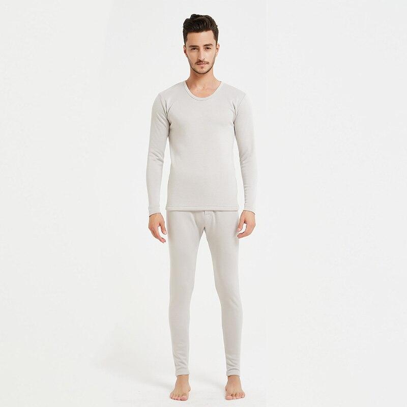 100% di seta peluche caldo set di biancheria intima di spessore lungo resistente al freddo degli uomini rotondi del collare abbigliamento invernale e pantaloni LVFAN ZC0002 - 2