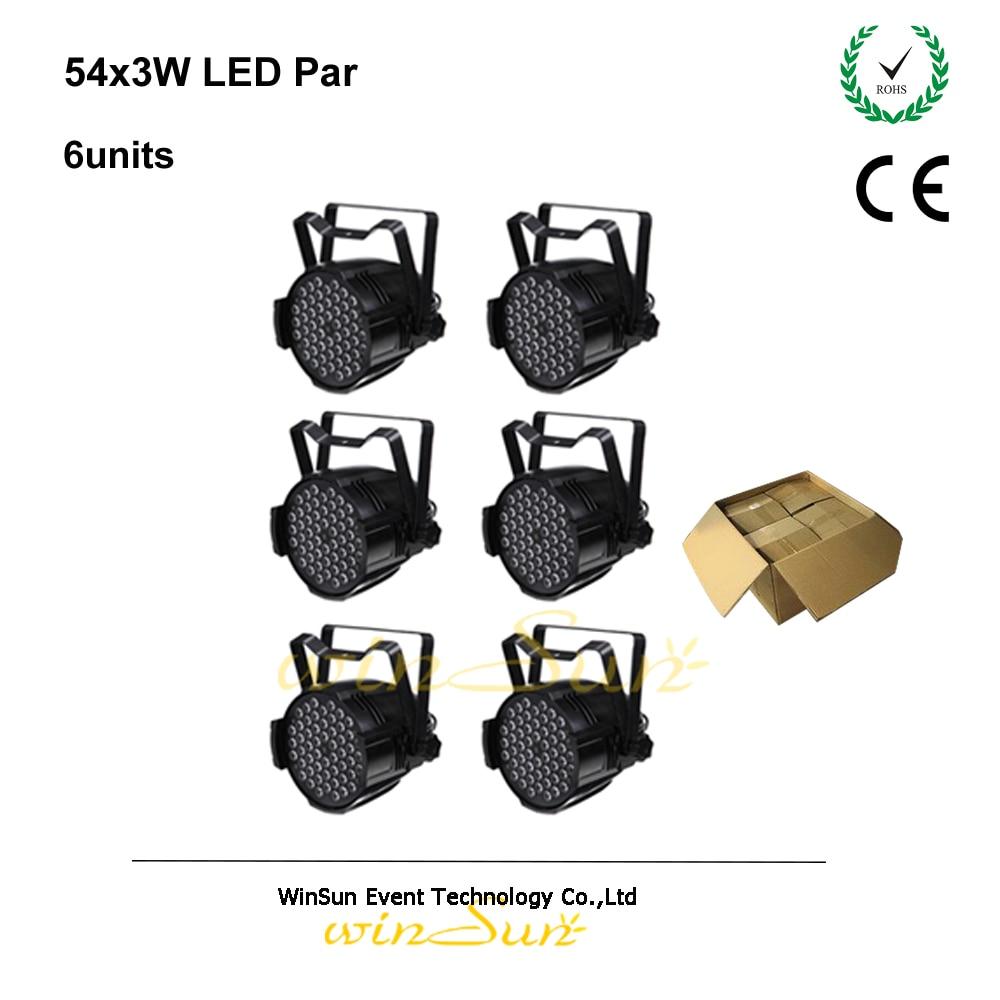Litewinsune 54 * 3Watt Tricolor RGB DMX Par LED Disco DJ Etapa Iluminación 6pcs / carton