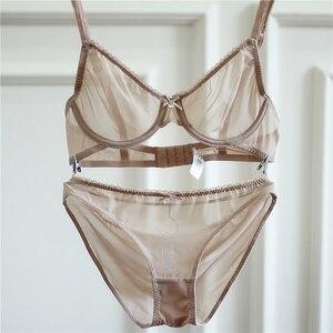 Image 4 - Sexy Mousse free shipping ladies black Bras Lingerie Set temptation lace soft Underwear panty Set transparent bra&briefs set