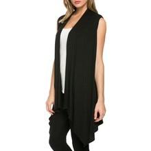 Women Summer  Jacket Soft Sleeveless Outerwear Cardigan Long Top Coat Waistcoat New Arrival