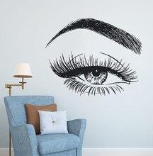 Eyelashes Wall Decal Eyebrows Make Up Wall Sticker Beauty Salon Decor Long Lashes Wall Mural Beauty Shop Wall Window Art AY1084